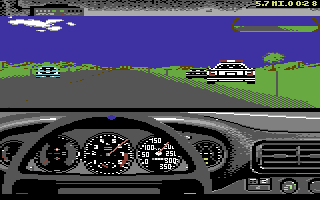 The Duel: Test Drive II Commodore 64 Driving the Ferrari. A cop has pulled someone over. Hopefully, you're not next!