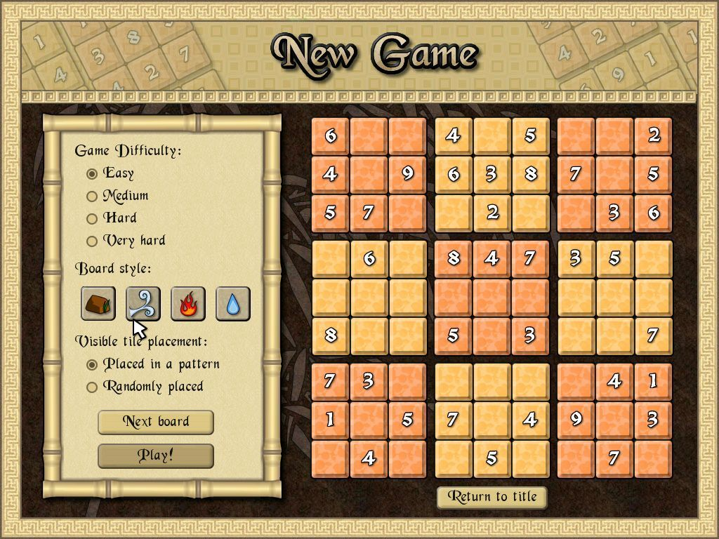 Sudoku Quest Windows Before the start of a game the board style and the difficulty level can be changed.