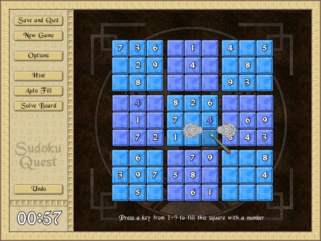 Sudoku Quest Windows The pen style cursor is used to select a cell. When a number is entered a little animation takes place.