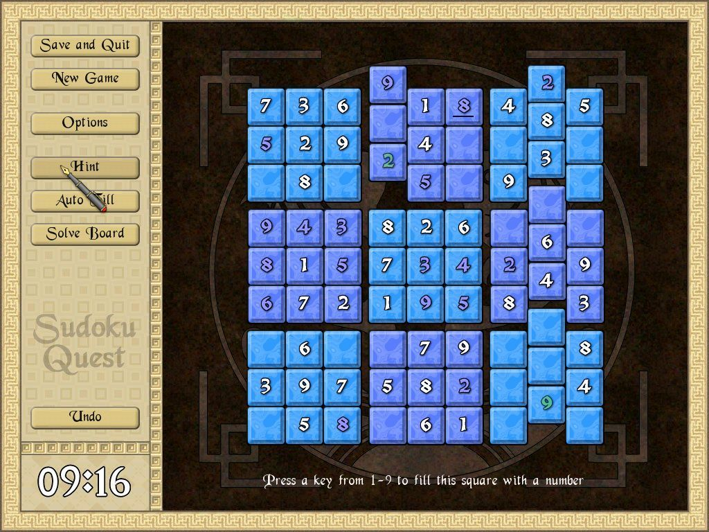 Sudoku Quest Windows Here the HINT feature has been used. It shows two numbers in green but only for a short while.