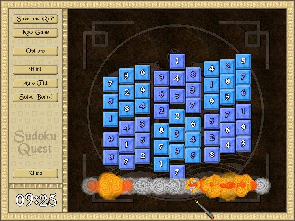 Sudoku Quest Windows When a board is solved there is a short animation of its destruction followed by the high score table