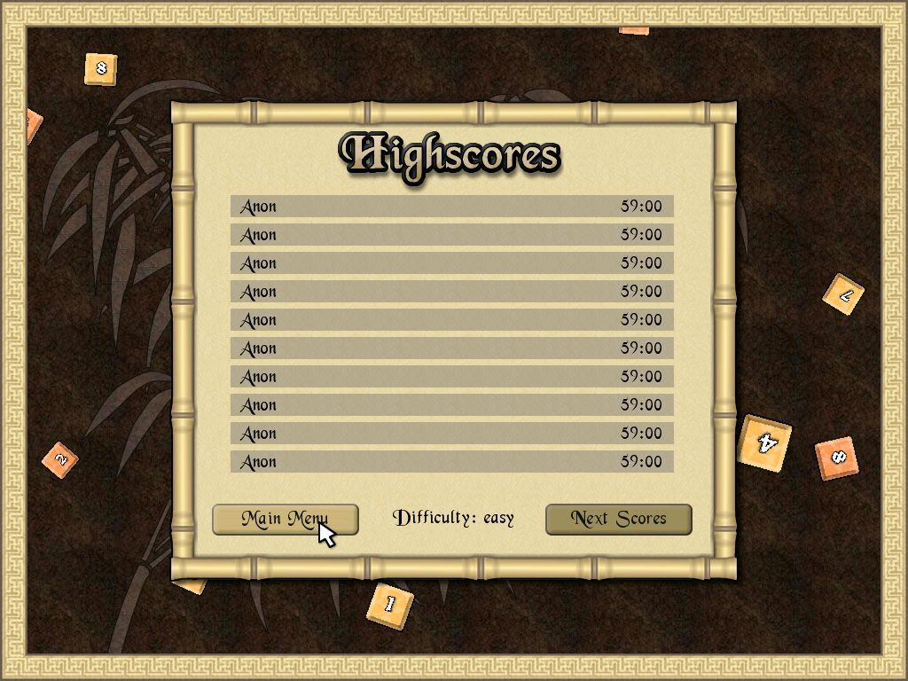 Sudoku Quest Windows This is the game's high score table. From here the player is returned to the main menu.