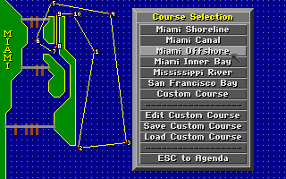 Heat Wave: Offshore Superboat Racing Amiga Choose a course.