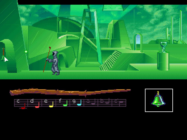 Loom FM Towns Inside Crystalgard - note the combination of two graphic styles: the whole bottom of the screen was taken from the EGA version without any changes