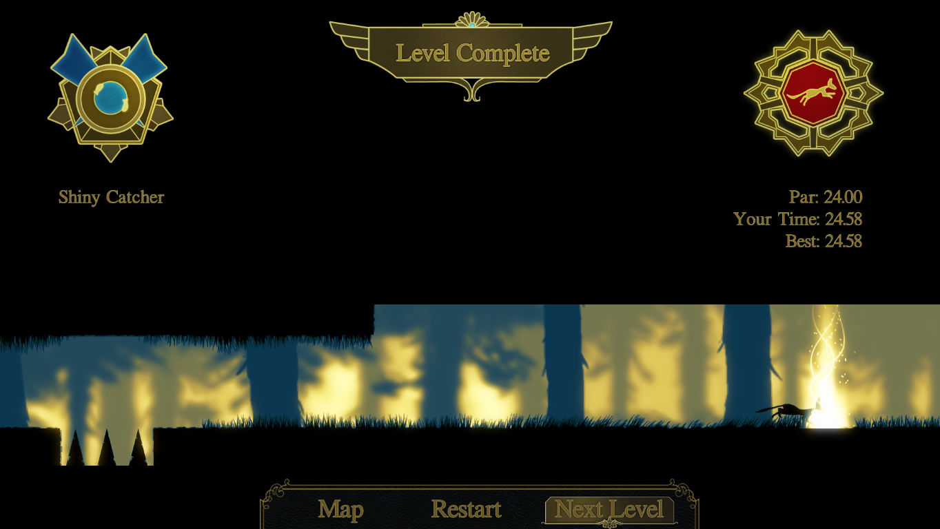 A Walk in the Dark Windows Level completion screen
