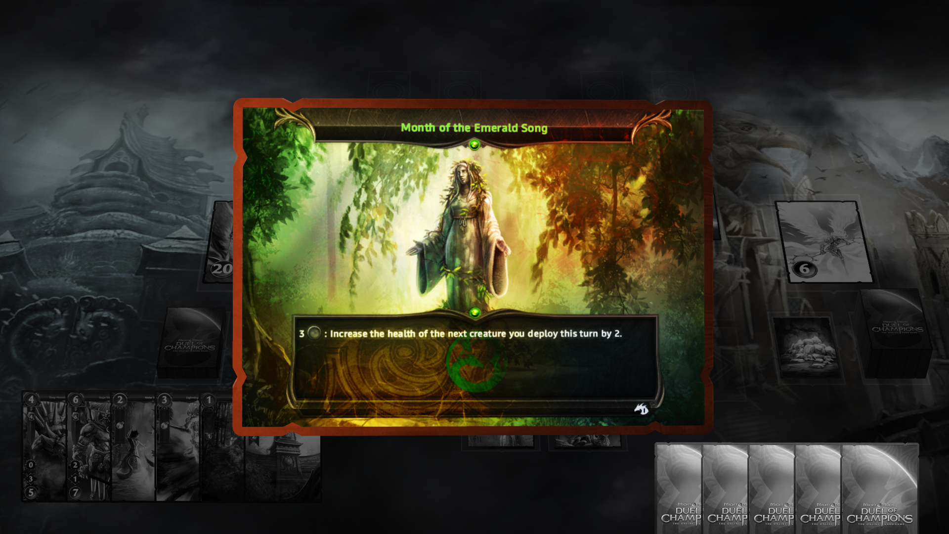 "Might & Magic: Duel of Champions Windows Rare cards are identified by a nice ""shiny"" effect."