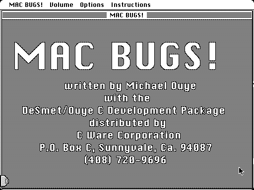 MacBugs! Macintosh Title screen