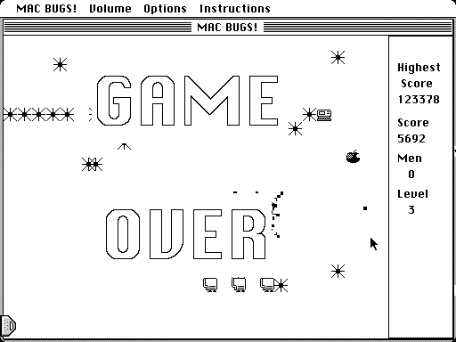 MacBugs! Macintosh Game over
