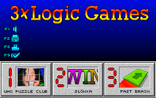 3x Logic Games DOS Main menu
