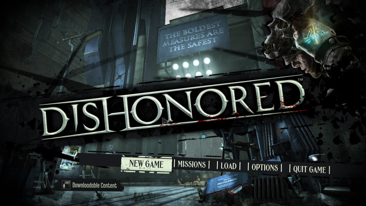 Dishonored Windows Main menu
