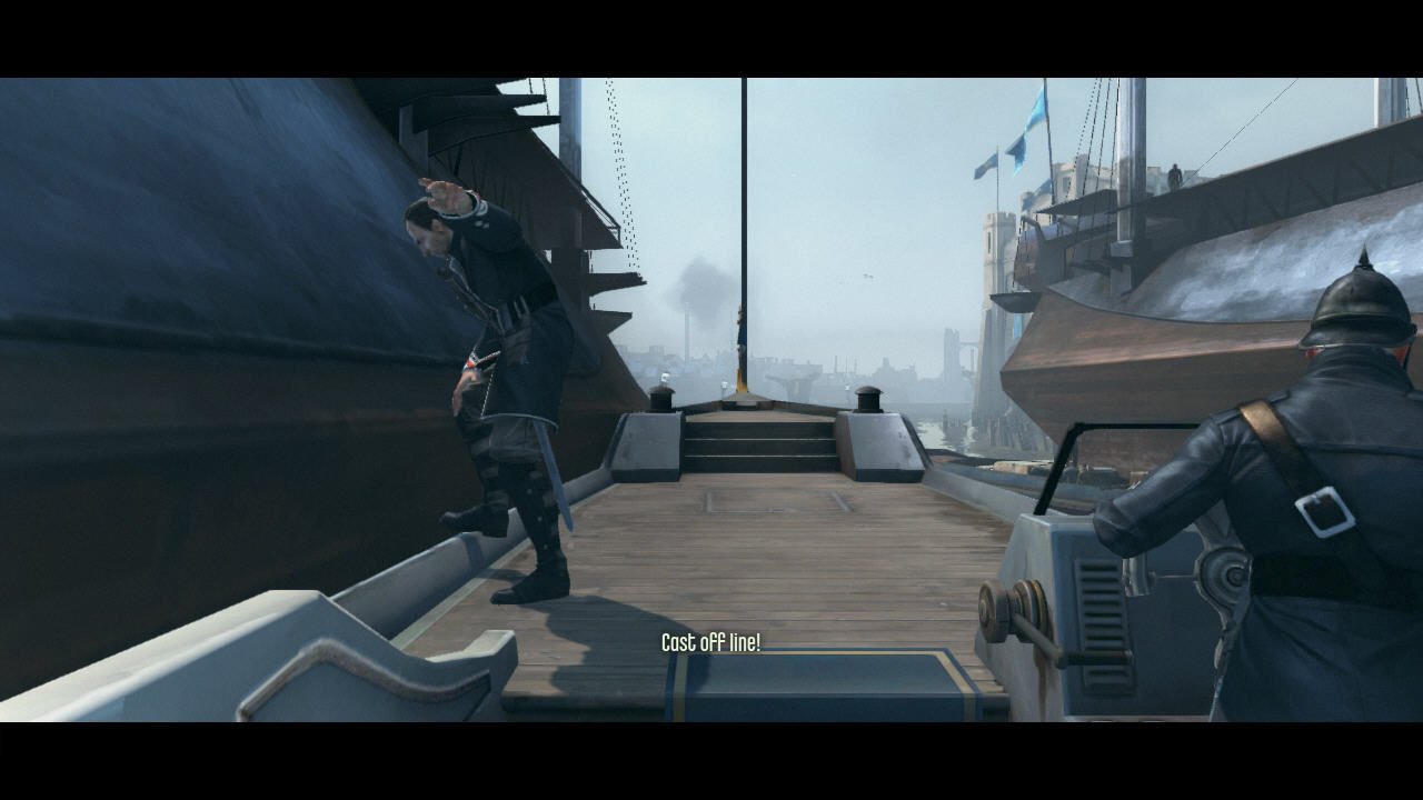 Dishonored Windows Intro in a rather <i>Half-Life</i> style - Corvo rides this boat and can look around.