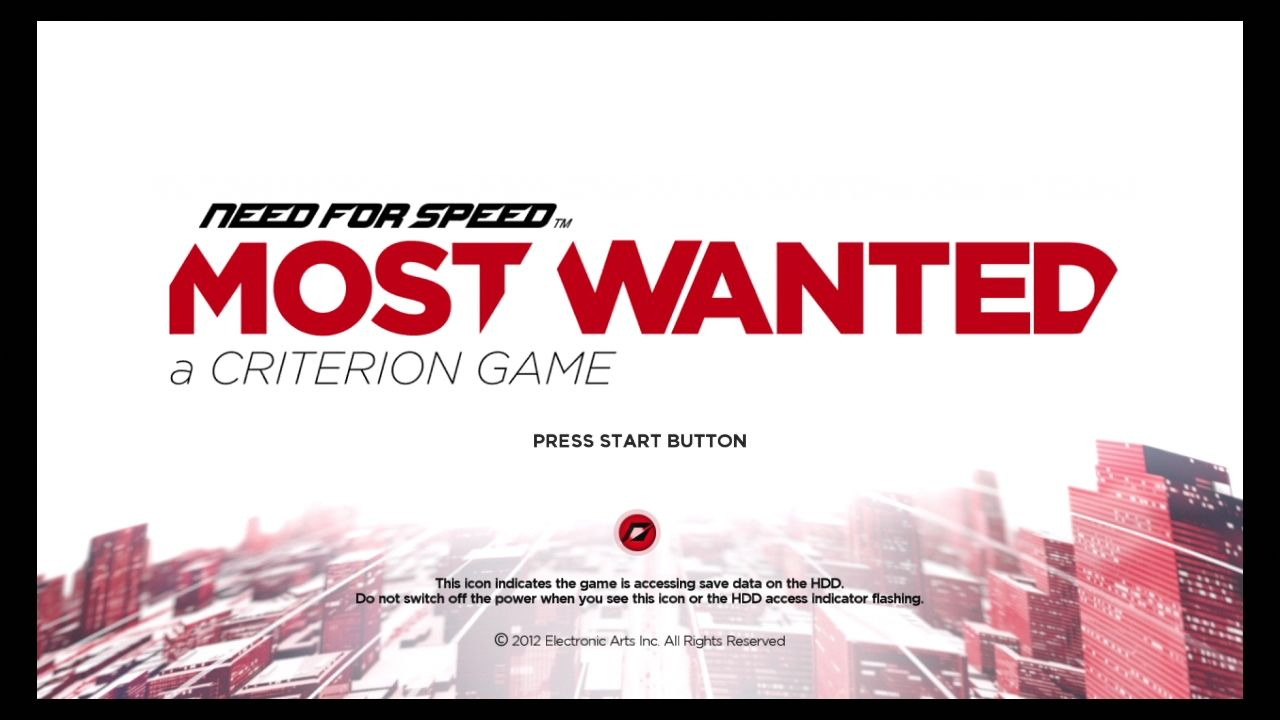 Need for Speed: Most Wanted PlayStation 3 Title screen