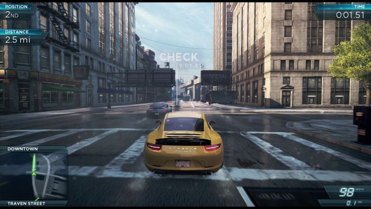 "Need for Speed: Most Wanted PlayStation 3 <moby company=""Visceral Games (Redwood Shores)"">Visceral Games</moby> says ""Hi"" from virtual advertising billboards."