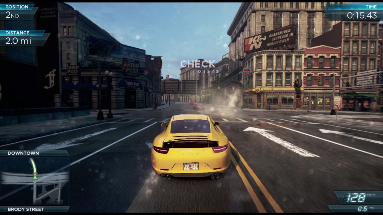 Need for Speed: Most Wanted PlayStation 3 Tailing the opponent in the sprint run.