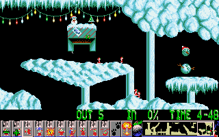 Xmas Lemmings DOS Level 2