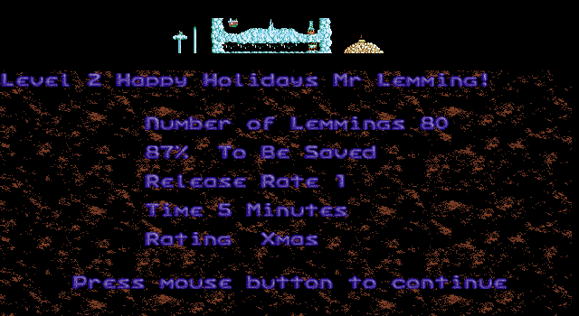 Xmas Lemmings DOS Level 2 Introduction.