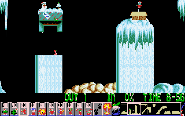 Xmas Lemmings DOS Level 3 - start of level.
