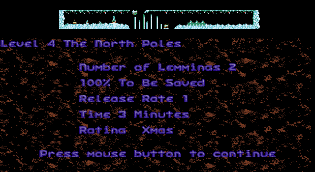 Xmas Lemmings DOS Level 4 intro.