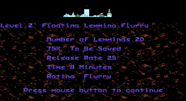 Holiday Lemmings DOS Holiday '93 - Flurry - Level 2 Intro