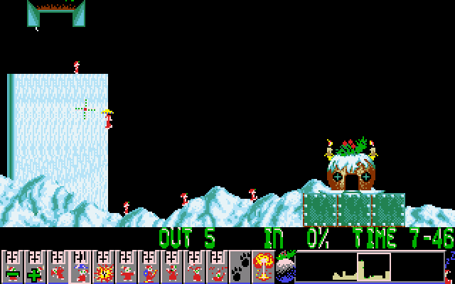 Holiday Lemmings DOS Holiday '93 - Flurry - Level 2 - It's time for floaters!
