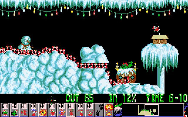 Holiday Lemmings DOS Holiday '93 - Flurry - Level 3 -  Mass exodus of lemmings