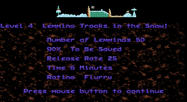 Holiday Lemmings DOS Holiday '93 - Flurry - Level 4 - Lemming Tracks in the Snow