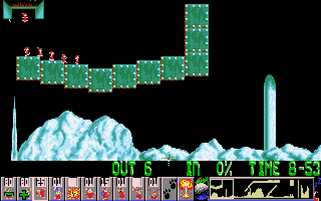 Holiday Lemmings DOS Holiday '93 - Blitz - Level 1