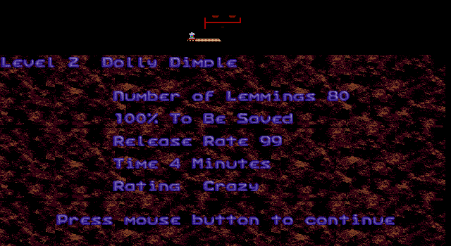 Oh No! More Lemmings DOS Crazy - Level 2 - Dolly Dimple