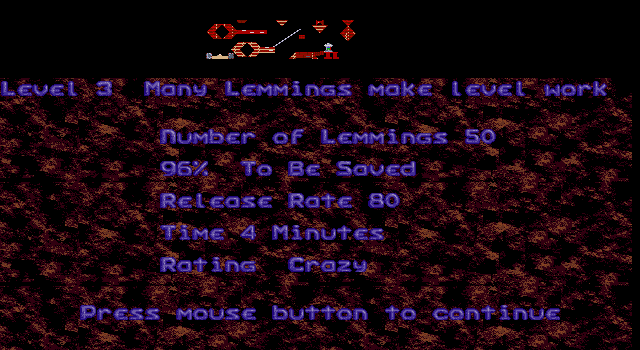 Oh No! More Lemmings DOS Crazy - Level 3 - Many Lemmings Make Level Work