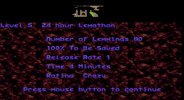 Oh No! More Lemmings DOS Crazy - Level 5 - 24 Hour Lemathon