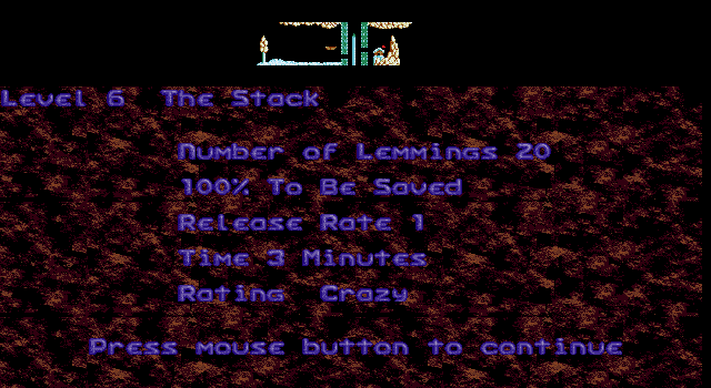 Oh No! More Lemmings DOS Crazy - Level 6 - The Stack
