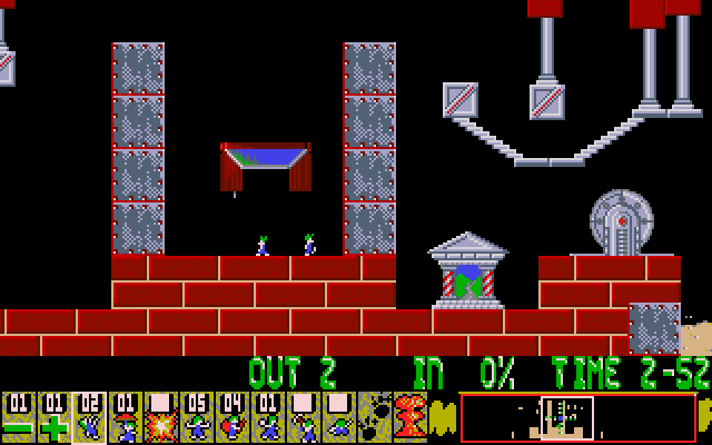Oh No! More Lemmings DOS Bricks and machinery make up this level.