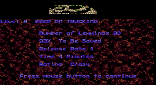 Oh No! More Lemmings DOS Crazy - Level 8 - Keep on Trucking