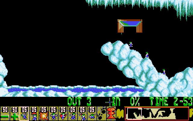 Oh No! More Lemmings DOS Crazy - Level 9 - Watch out for the icy cold water.