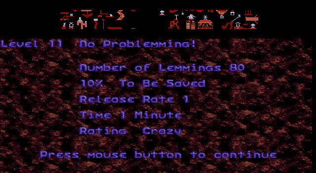 Oh No! More Lemmings DOS Crazy - Level 10 - No Problemming!