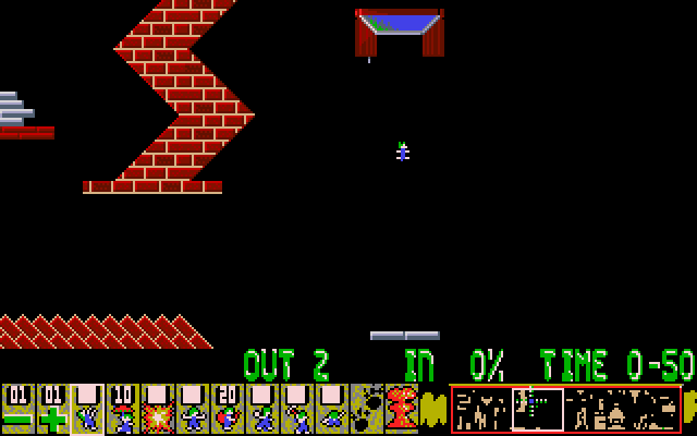 Oh No! More Lemmings DOS Crazy - Level 10 - This level looks tricky.