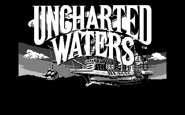 Uncharted Waters DOS Title Screen (CGA)