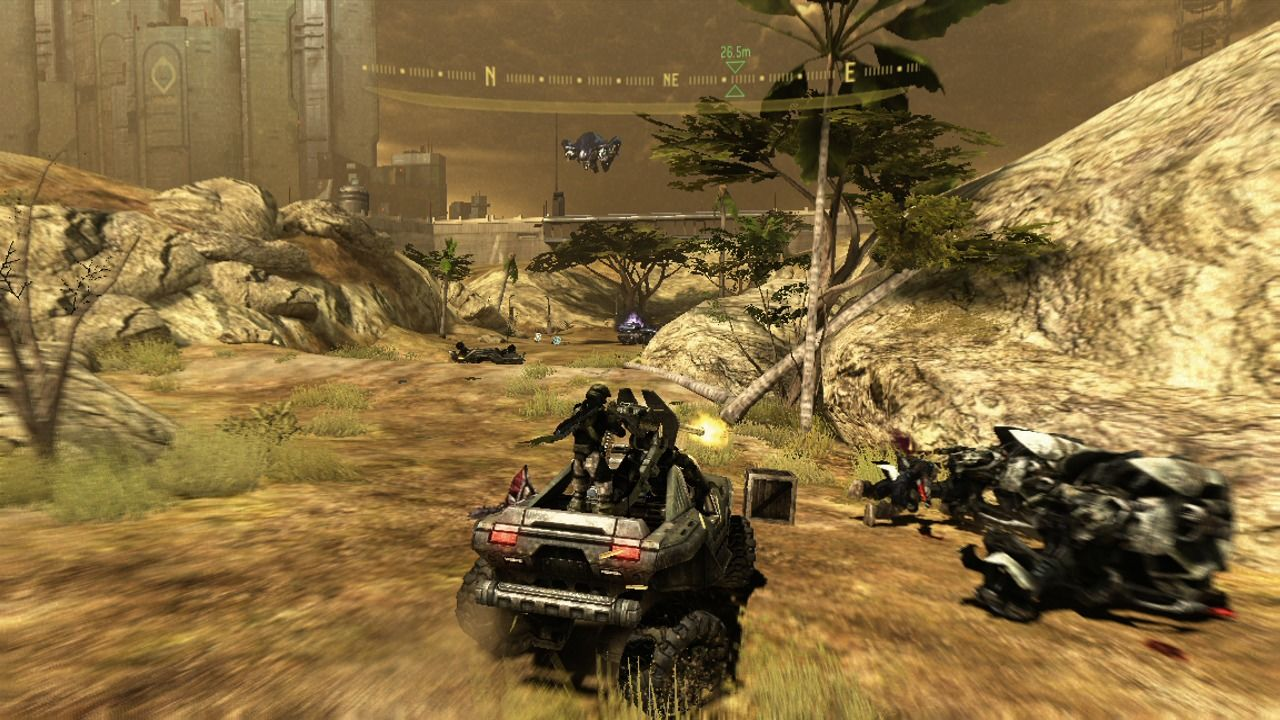 Halo 3: ODST Xbox 360 When you drive a Warthog, your comrades will fire the mounted turret.