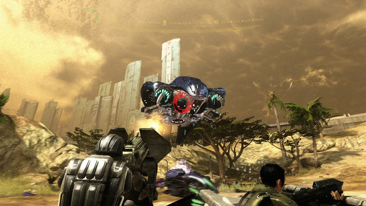 Halo 3: ODST Xbox 360 Takes a lot more firepower to take down enemy dropships.
