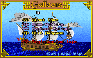 Galleons DOS Main menu