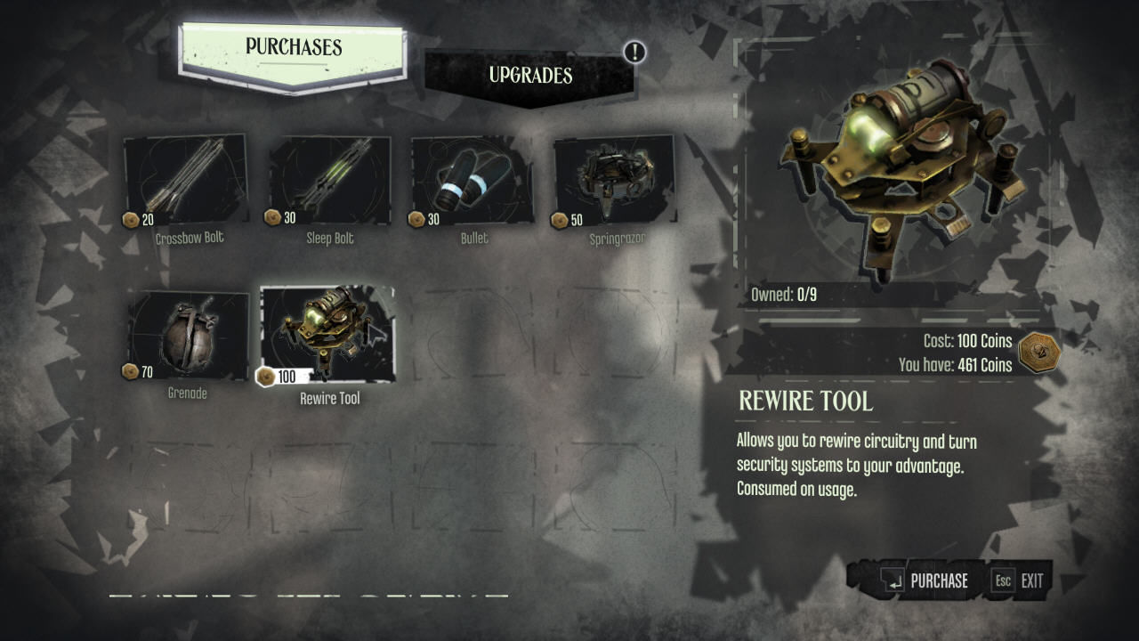 Dishonored Windows You can purchase and upgrade equipment