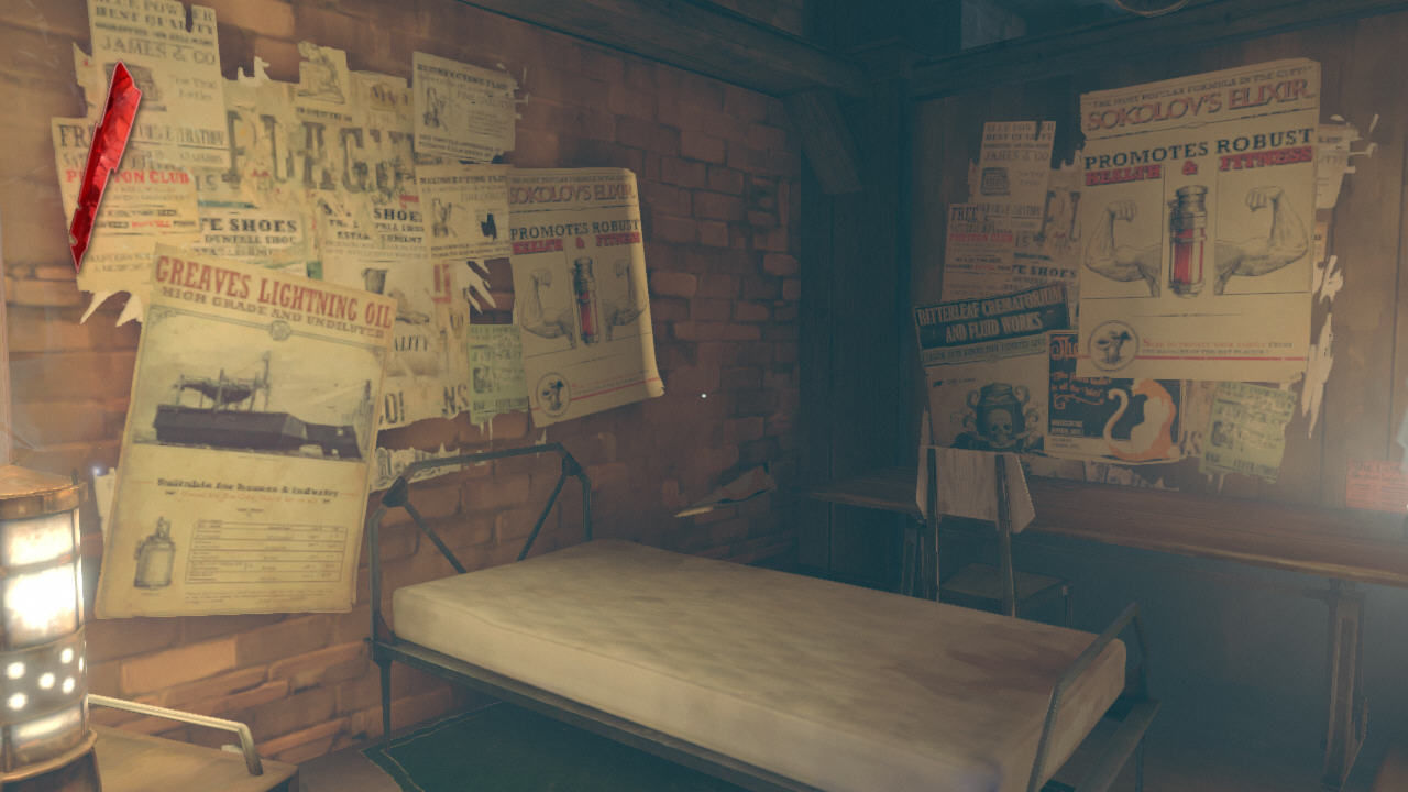 Dishonored Windows Corvo's room. Five stars it is not, but all those posters are kinda cozy