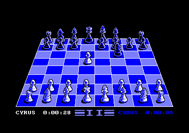 Cyrus II Chess Amstrad CPC A game in progress