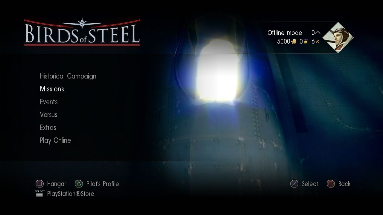 Birds of Steel PlayStation 3 Main menu
