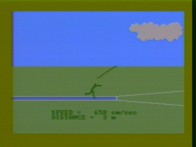 Microsoft Decathlon PC Booter Throwing the javelin (CGA with composite monitor)