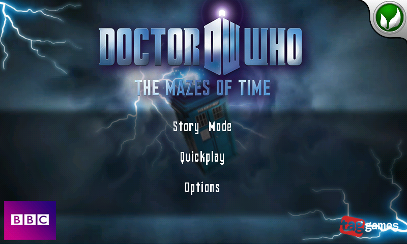 Doctor Who: The Mazes of Time Android Main menu