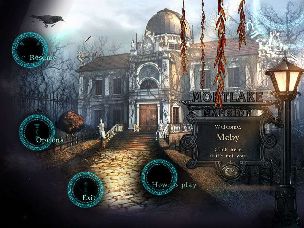 Mystery of Mortlake Mansion Macintosh Main menu