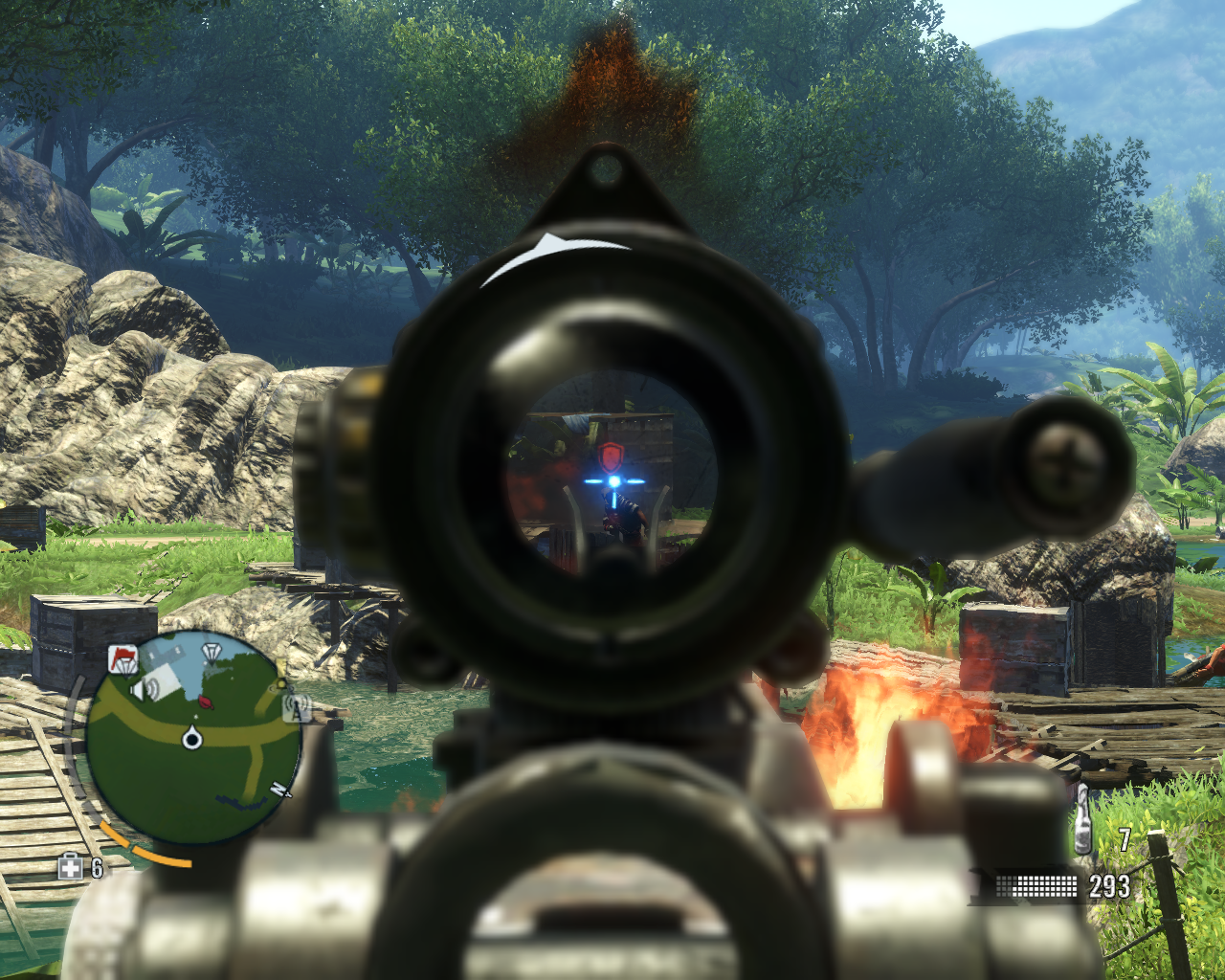 Far Cry 3 Windows Aiming at a heavily armored pirate