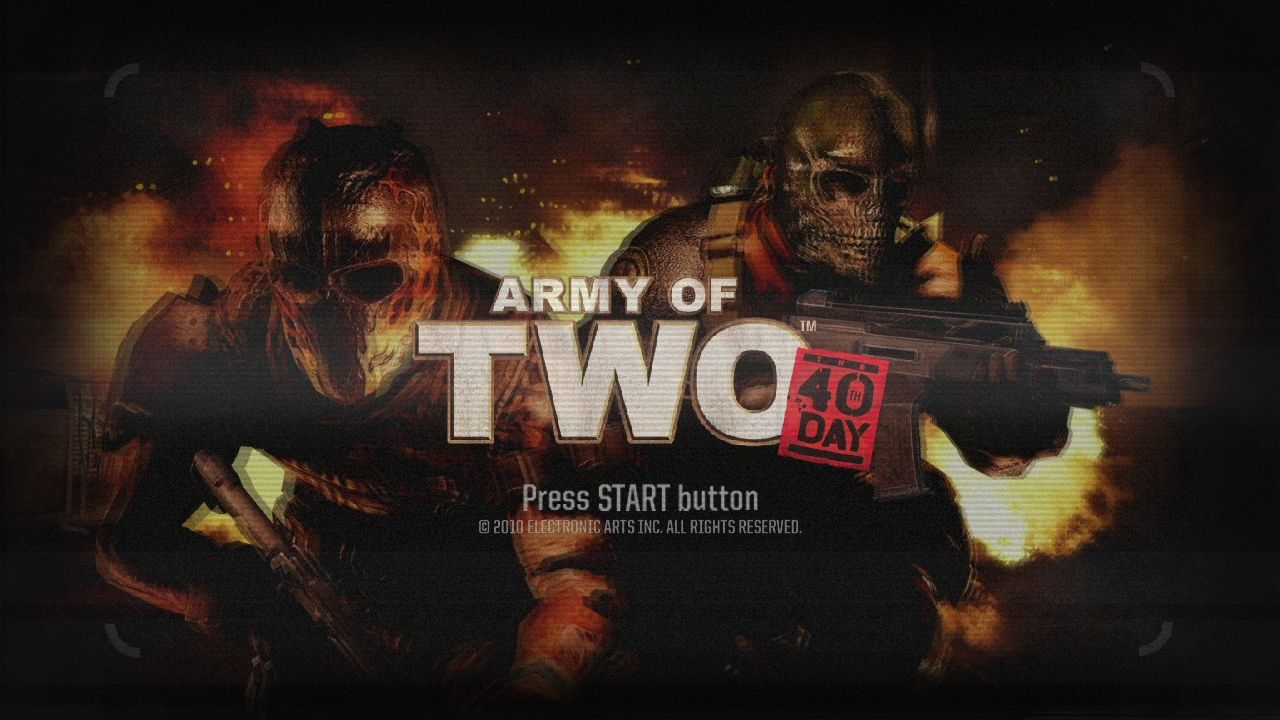 Army of Two: The 40th Day PlayStation 3 Start screen.