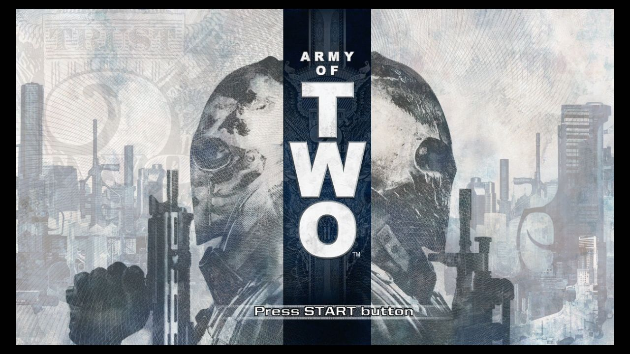 Army of Two PlayStation 3 Start screen.